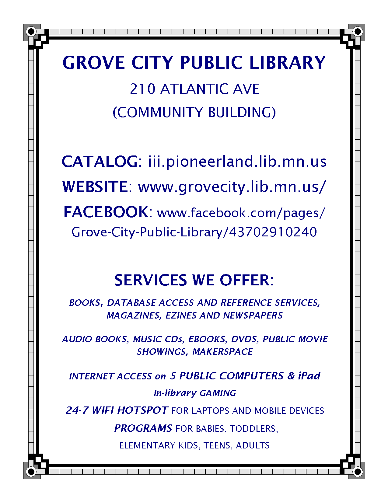 Grove City Library Sign, Services